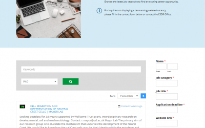 New Job opportunities page on the ESDR website